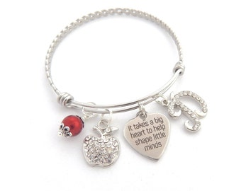 Personalized TEACHER Gifts, teacher bracelet, Gifts for Teachers, It takes a big heart to help shape little minds-Holiday Gift for Teachers
