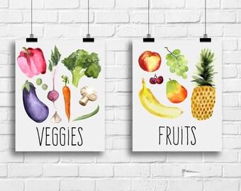 Veggies and fruits kitchen decor, kitchen prints, kitchen posters, housewarming gift, wedding shower gift, watercolour kitchen art, A-2017
