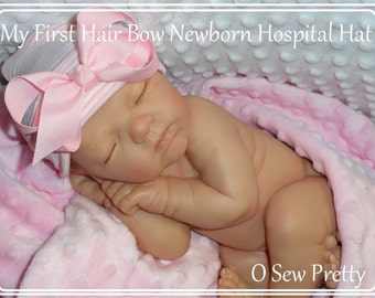 Newborn hospital hat, Pink baby hospital hat, baby girl hat, newborn hat, newborn girl hat, newborn hospital beanie, pink baby hat with bow