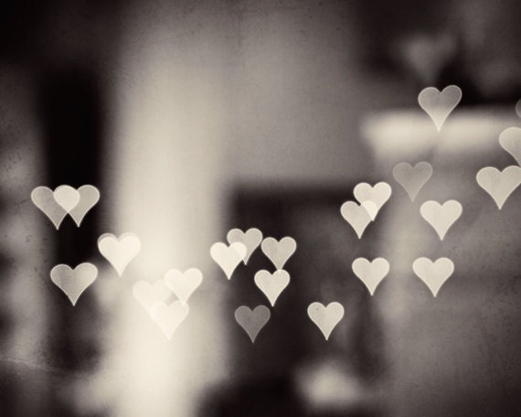 Heart black and white photography love bokeh neutral print