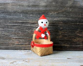 SALE mid century santa Christmas basket // vintage japan
