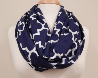 Infinity Scarf- Navy And White