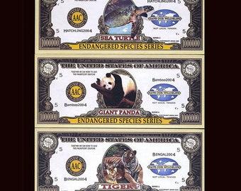 USA Set, 20 notes, 2004, Turtle, Manatee, Tiger, Panda, Endangered Species