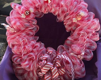 Red and White Candy Cane Wreath