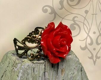 Rocket Red Rose Ring. Adjustable Ring. Statement Ring.