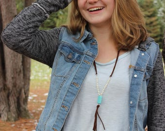 Pearl, turquoise, and leather necklace