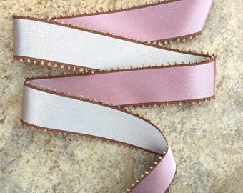 "French Vintage Silvery Grey and Pink Double-faced 2.25"" Ribbon with Picot Edge by the Yard"