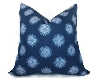 Blue Pillow Cover, 20x20 Pillow cover, Decorative Pillow, Toss pillow cover, Blue white pillow, Pillow case