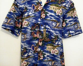 Vintage Blue PINEAPPLES HAWAIIAN SHIRT, Coconut Buttons, 1980s  mens size l