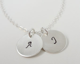 """Sterling Silver Initial Necklace - 1/2"""" Initial Discs - Hand Stamped Personalized Jewelry -- Two Initials"""