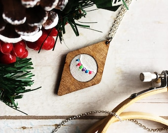 Festive Lights 2 - Hand Embroidered Wood Necklace