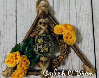 Mini Hallows Wizard Wreath- Decor - Deathly Floral - Home Gifts - Wood Wreath - Door Decor - Rustic - Geek Home Decor - Nerd Home Decor