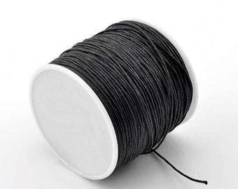 5 meters of black waxed cord 1 mm