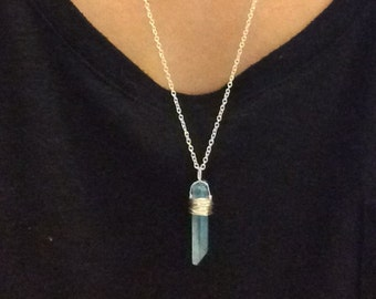 Natural quartz necklace, Aqua Aura Crystal necklace, Quartz necklace, long Necklace, healing crystal necklace, crystal necklace
