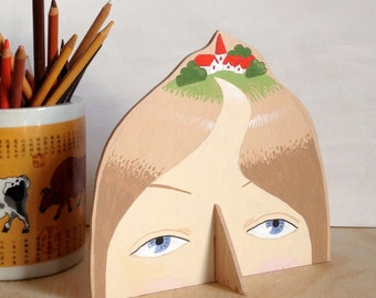 Hand painted plywood sculpture - Lady with Village on her Head XIV