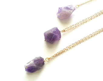 Raw Amethyst Necklace, Gold Rough Gemstone Necklace, Raw Crystal Necklace, Amethyst Crystal Necklace, Layered Crystal Long Boho Necklace