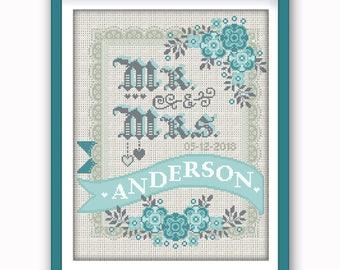 Wedding cross stitch | Etsy