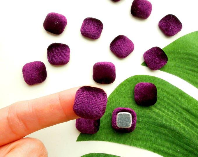 10 Purple velvet cabochons  Square velvet fabric cabochons 15 mm Dark purple flatback cabochons  Purple velvet square embellishments
