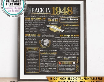 """1948 Flashback Poster, Flashback to 1948 USA History Back in 1948, Birthday, Anniversary, Gold, Chalkboard Style PRINTABLE 16x20"""" Sign <ID>"""