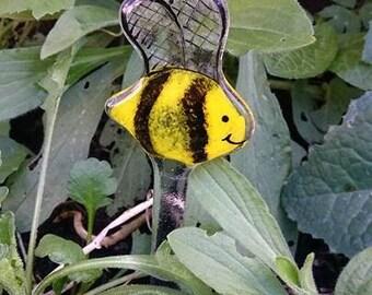 Fused Glass Bee Garden Stake, Garden Decoration