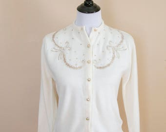 50s Penrose Orlon Beaded and Sequined Cardigan Size Small