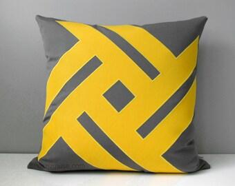 Decorative Grey & Yellow Outdoor Pillow Cover, Modern Pillow Cover, Lemon Yellow Cushion Cover, Sunflower Sunbrella Pillow Cover, Mazizmuse