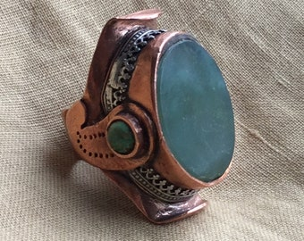 Tibetan saddle Ring of copper with silver. Jade and Turquoise.