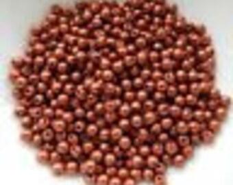 3mm Druk Rounds Copper (100 beads) Czech Glass