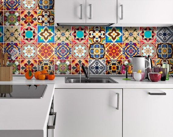 Vinilo azulejos talavera estilo cl sico pegatinas azulejos - Pegatinas para azulejos ...