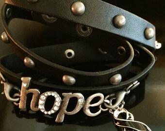 Leather Wrap Skin Cancer Awareness / Survivor Bracelet - hope - Black Ribbon Charm - Survivor Gift / Jewelry - Melanoma