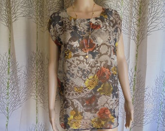 Blouse size 36/38/40, woman tunic: mustard, red Burgundy, beige and grey Paisley polyester voile print.