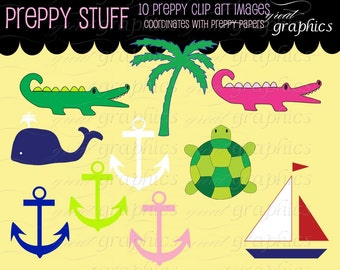 Preppy Clip Art Digital Clipart Preppy Alligator Preppy Whale Anchor Sailboat Printable Preppy Digital Clip Art - Instant Download