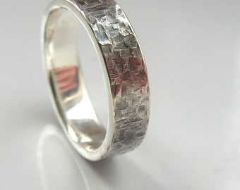 Rock Texture Ring - Sterling Silver Textured Hammered Men's Ring
