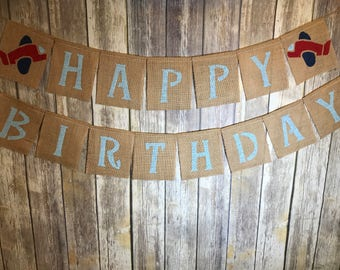Airplane Burlap Banner, Airplane Birthday Banner, Airplane Banner, Airplane Happy Birthday Banner, Birthday Banner