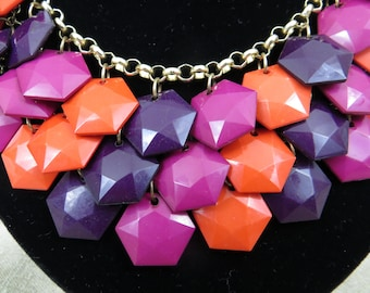 Mod 60's Statement Necklace/Disco Mesh/Bright and Funky 60's Colors/Costume Jewelry