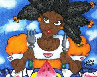 Prints:5x7 Next Helping of Love  Affirmation Natural Hair by karin turner KarinsArt  watermelon african american