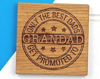 Best Dad Coaster - Grandad Gift - Gifts for Dad - Fathers Day Gift - New Grandparents - Gift for Him - Wooden Coaster - Personalised Coaster