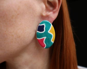 Abstract Color EARRINGS / Vintage Statement Earrings / 80's Oversize Jewelry