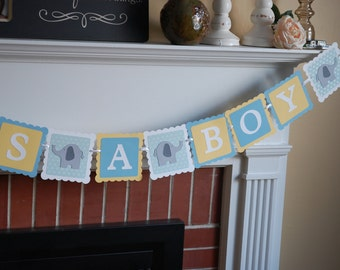 Elephant It's A Boy Banner, Elephant Baby Shower Banner, Elephant Theme, Pastel Yellow, Pastel Blue