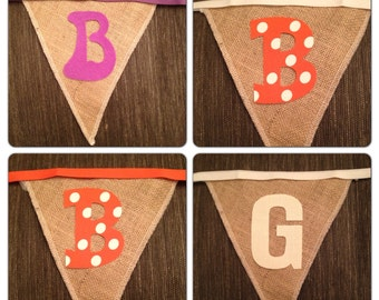 """Design your own banner, Natural Burlap shown, 7 inch burlap flags, personalized with custom 4"""" handmade,iron on letters, Product ID# G-054"""