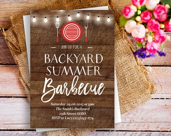 BBQ summer party invite, Hot Summer Nights Party Invitation Printable, backyard summer barbecue invitation, backyard summer bash BBQ invite