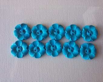 SALE Lot of 10 Flower Buttons - 1 Inch-  Turquoise WAS 4.50 NOW 3.50