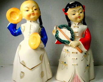 Vintage Asian Porcelain Couple, He Holds Cymbals 1950s, She Holds a Fan, Pico HandPainted From Japan,  White, Red, Black, Post WWII