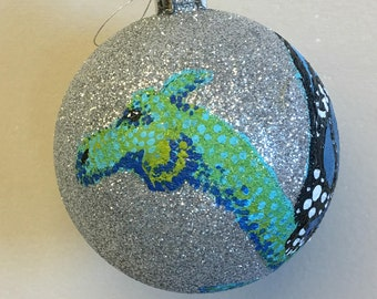 Green Blue Dragon with butterfly wing on Silver Glitter Shatter Resistant Ornament
