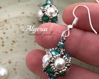 Beaded ball SWAROVSKI pearl Earrings