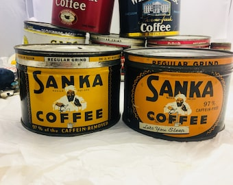 Vintage Advertising 1950's tin litho Advertising one Pound  Sanka Coffee Ortho Cut Coffee Can- Selling Individually- TL11,TL12