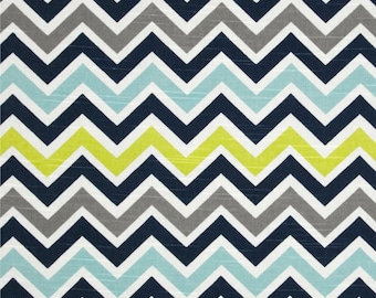 Blue Green Chevron Fabric ZOOM CANAL SLUB navy grey yardage Upholstery Premier Prints home decor by the Yard - 1 yard or more - Ships Fast