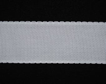 Band embroidery white aida 5.5 width 5 cm / meter