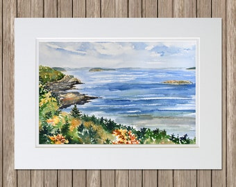 Original Watercolor Painting - From Highseas, Bar Harbor, Maine Fall - Seascape Painting by Beth Whitney