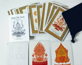 Royal Thai Tarot Cards and booklet by Sungkom Horharin Full Deck Cards Set, major minor arcana, tarot bag, art culture fortune telling